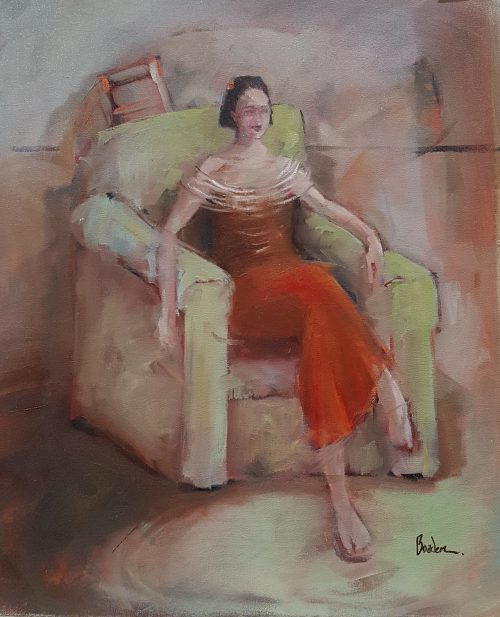 Girl in green chair